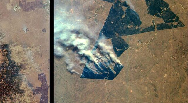 These images from NASA's Terra satellite images are of northeastern South Africa, near Kruger National Park, were acquired on September 7, 2000.