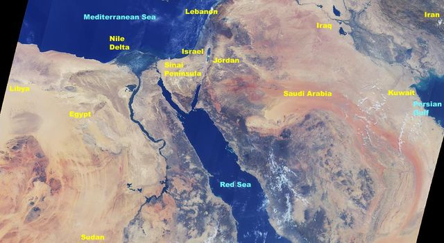 This image from NASA's Terra satellite in August, 2000, shows the northern tip of the Red Sea, the Gulf of Suez and the Gulf of Aqaba frame the sandy deserts and spectacular mountains of the Sinai Peninsula.