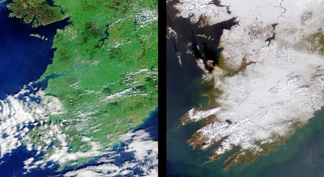 The contrast between summer and winter is apparent in this pair of images of southwestern Ireland acquired by NASA's Terra satellite August 23, 2000 (left) and December 29, 2000 (right).