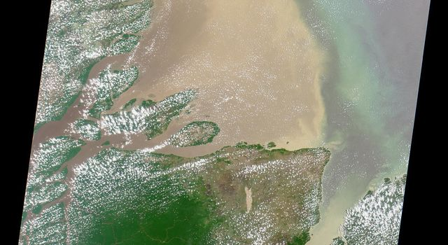 Flowing over 6450 kilometers eastward across Brazil, the Amazon River originates in the Peruvian Andes as tiny mountain streams that eventually combine to form one of the world's mightiest rivers as shown in this image from NASA's Terra satellite.