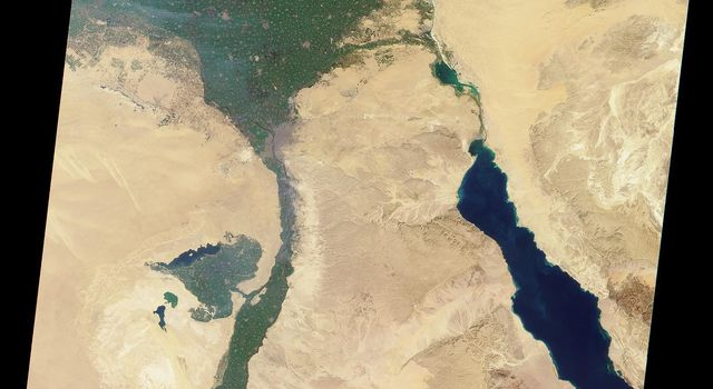 The Nile River was captured by NASA's Terra satellite on January 30, 2001 (Terra orbit 5956). The Nile is the longest river in the world.