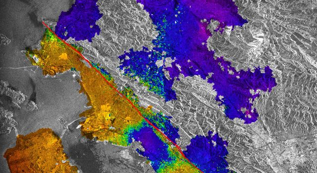 This image of California's Hayward fault is an interferogram created using a pair of images taken by ESA's ERS-1 and ERS-2 in June 1992 and September 1997 over the central San Francisco Bay in California.