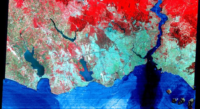 NASA's Terra satellite captured this image of Istanbul, Turkey on June 16, 2000.