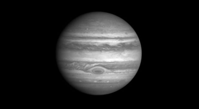 This image of Jupiter was taken by NASA's Cassini Imaging Science narrow angle camera through the blue filter (centered at 445 nanometers) on October 1, 2000, 15:26 UTC at a distance of 84.1million km from Jupiter.