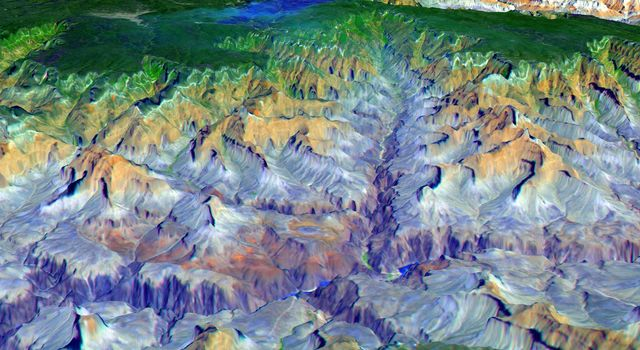 The Grand Canyon is one of North America's most spectacular geologic features as seen in this image acquired NASA's Terra satellite on May 12, 2000.