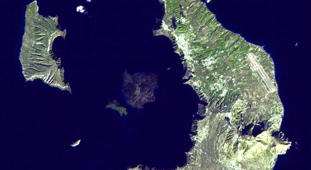 This image was acquired by NASA's Terra satellite on November 21, 2000 captured almost the entire island of Santorini, Greece.