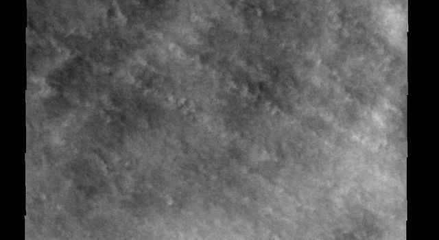 These clouds occurred near the south polar cap on Mars at the end of southern summer as seen by NASA's 2001 Mars Odyssey.