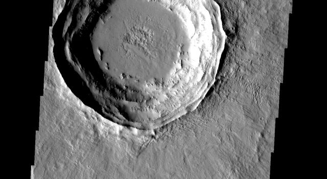 This crater on Mars has a layered ejecta blanket. This image was taken by NASA's 2001 Mars Odyssey.