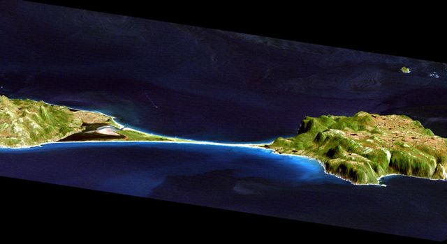 This image acquired by NASA's Shuttle Radar Topography Mission from data collected on February 12, 2000 shows two islands, Miquelon and Saint Pierre, located south of Newfoundland, Canada.