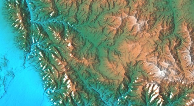 This topographic acquired by NASA's Shuttle Radar Topography Mission from data collected on February 16, 2000 shows the relationship of the urban area of Pasadena, California to the natural contours of the land.