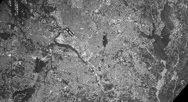This radar image acquired by NASA's Shuttle Radar Topography Mission from data collected on February 18, 2000 shows the Dallas-Fort Worth metropolitan area in Texas.