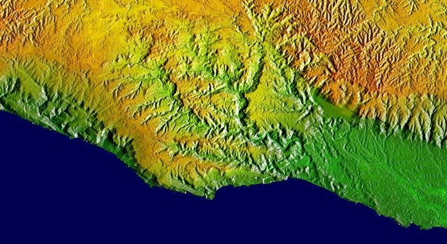 This elevation map shows a part of the southern coast of the Arabian Peninsula including parts of the countries of Oman and Yemen as seen by NASA's Shuttle Radar Topography Mission.