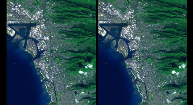 Honolulu, on the island of Oahu, is a large and growing urban area. This stereoscopic image pair, combining a Landsat image with topography measured by NASA's Shuttle Radar Topography Mission, shows how topography controls the urban pattern.