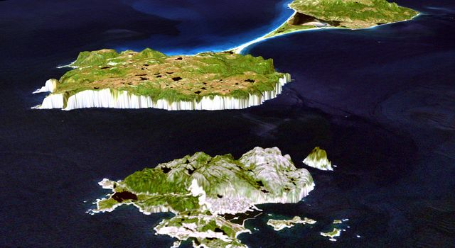 This image from NASA's Shuttle Radar Topography Mission shows Miquelon and Saint Pierre Islands, located south of Newfoundland, Canada. These islands, along with five smaller islands, are a self-governing territory of France.