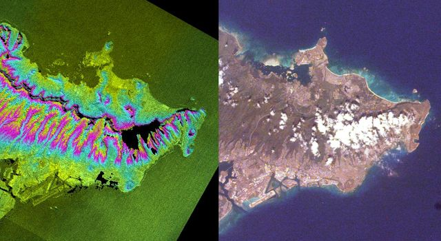These two images of the eastern part of the island of Oahu, Hawaii provide information on regional topography and show the relationship between urban development and sensitive ecosystems as seen by NASA's Shuttle Radar Topography Mission.