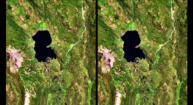 The Lake Palanskoye in northern Kamchatka was formed when a large landslide disrupted the drainage pattern, forming a natural dam as seen in this image from NASA's Shuttle Radar Topography Mission.