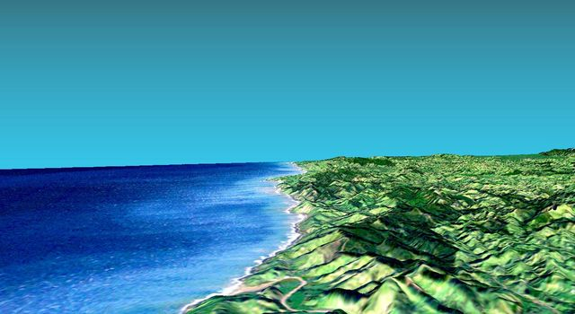This 3-D perspective view from NASA's Shuttle Radar Topography Mission looks south along the southeast coast of the North Island of New Zealand. The capital city of Wellington is off the right side of the image.