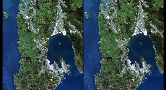 This image from NASA's Shuttle Radar Topography Mission shows Wellington, the capital city of New Zealand, located on the shores of Port Nicholson, a natural harbor at the south end of North Island.
