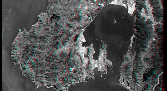 This anaglyph, from NASA's Shuttle Radar Topography Mission, is of Wellington, the capital city of New Zealand, located on the shores of Port Nicholson, a natural harbor. 3D glasses are necessary to view this image.