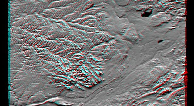 This anaglyph, from NASA's Shuttle Radar Topography Mission, shows the varied topography of eastern New York State and parts of Massachusetts, Connecticut, Pennsylvania and New Jersey. 3D glasses are necessary.