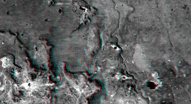 This anaglyph, from NASA's Shuttle Radar Topography Mission, shows Meseta de Somuncura, a broad plateau capped by basalt. Near its western edge is evidence of multiple volcanic events. 3D glasses are necessary to view this image.