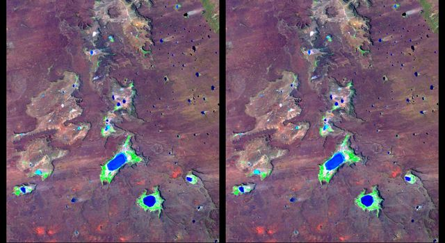The Meseta de Somuncura is a semi-arid basalt plateau in northern Patagonia. This view from NASA's Shuttle Radar Topography Mission of the northwestern part of the plateau, near Los Menucos, Argentina, shows numerous depressions/