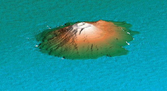 This 3D perspective view shows the Japanese island called Miyake-Jima viewed from the northeast as seen by NASA's Shuttle Radar Topography Mission.