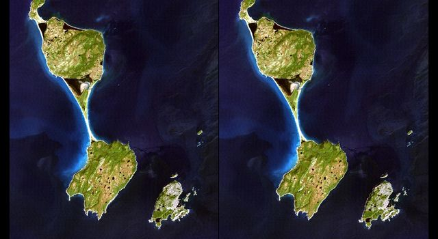 This stereoscopic satellite image showing Miquelon and Saint Pierre Islands, located south of Newfoundland, Canada, was generated by draping NASA's Landsat satellite image over a preliminary Shuttle Radar Topography Mission elevation model.