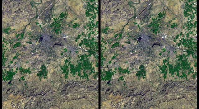 On January 26, 2001, the city of Bhuj suffered the most deadly earthquake in India's history. This stereoscopic image was generated from NASA's Landsat satellite and data from Shuttle Radar Topography Mission.