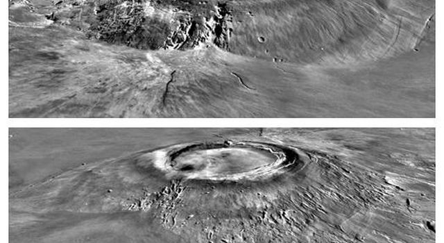 NASA's Mars Global Surveyor shows views of Arsia Mons, the southern most of the Tharsis montes on Mars featuring the caldera structure and the flank massive breakout that produced a major side lobe.