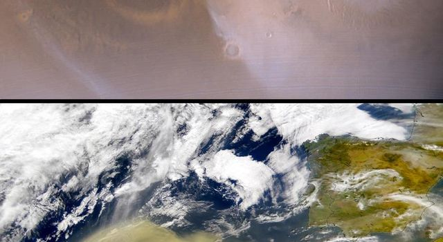 NASA's Mars Global Surveyor shows compares a martian north polar dust storm observed on 29 August 2000 with a terrestrial dust storm on Earth acquired on 26 February, 2000.