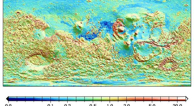 A global surface map from NASA's Mars Global Surveyor shows a heavily cratered terrain in Mars' southern hemisphere as well as that of the Valles Marineris canyon walls and the Olympus Mons aureole deposits.