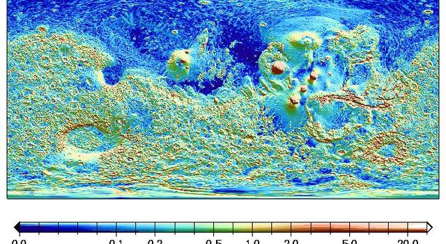 A global surface map from NASA's Mars Global Surveyor shows Mars' northern hemisphere is flatter than the douth, and shows some linear slope breaks, for example north of Alba Patera and the Tharsis province.