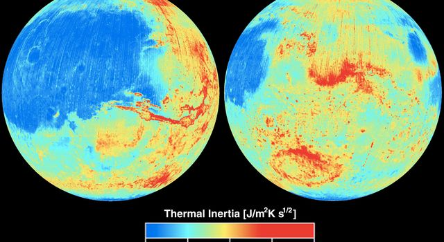 NASA's Mars Global Surveyor shows the global thermal inertia of the Martian surface as measured by the Thermal Emission Spectrometer instrument.