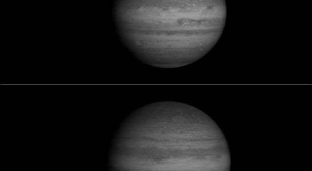 These two images, taken by NASA's Cassini spacecraft, show Jupiter in a near-infrared wavelength, and catch Europa, one of Jupiter's largest moons, at different phases.
