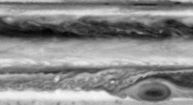 This image is one of seven from the narrow-angle camera on NASA's Cassini spacecraft assembled as a brief movie of cloud movements on Jupiter. The smallest features visible are about 500 kilometers (about 300 miles) across.
