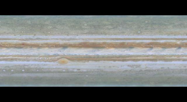 NASA's Cassini spacecraft took narrow-angle images of Jupiter's outer atmosphere, showing the giant planet as if it were constantly bathed in sunlight.