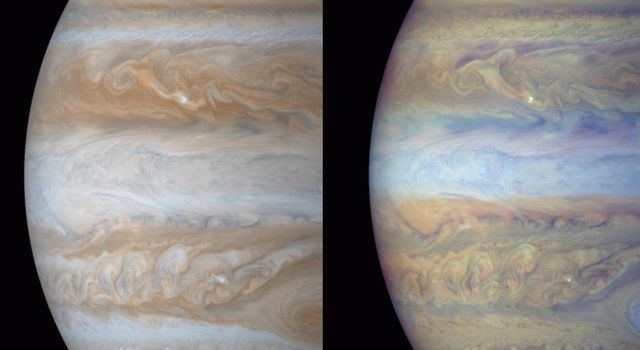 These color composite frames of the mid-section of Jupiter were of narrow angle images acquired on December 31, 2000, a day after NASA's Cassini's closest approach to the planet.
