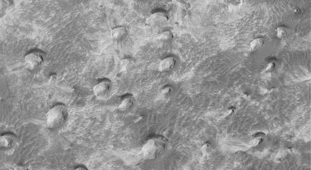 This image from NASA's Mars Global Surveyor shows a variety of textures observed on a south middle-latitude plain east-southeast of Hellas Planitia. Dark streaks left by passing dust devils are practically ubiquitous across the scene.