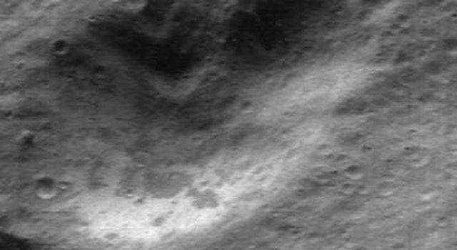 This image taken by NASA's NEAR Shoemaker on Apr. 17, 2000, shows the rocky, ridged, and rounded surface of asteroid Eros.