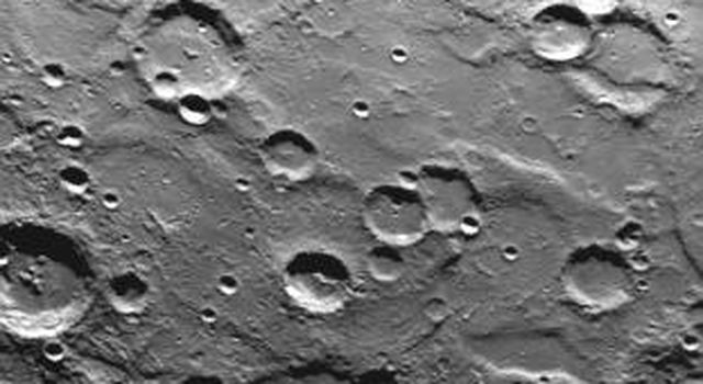 A cratered area near Mercury's South Pole was photographed by NASA's Mariner 10 during its second flyby of the planet of Sept. 21, 1974 (the spacecraft made its first encounter with Mercury on March 19, 1974).