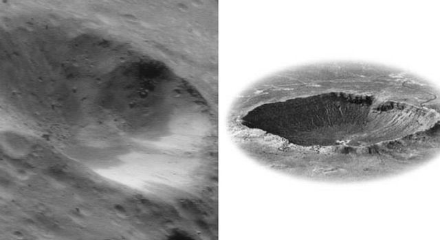 This image of asteroid Eros (at left), taken by NASA's NEAR Shoemaker on July 6, 2000, is displayed next to and at approximately the same scale as Meteor Crater, Arizona.