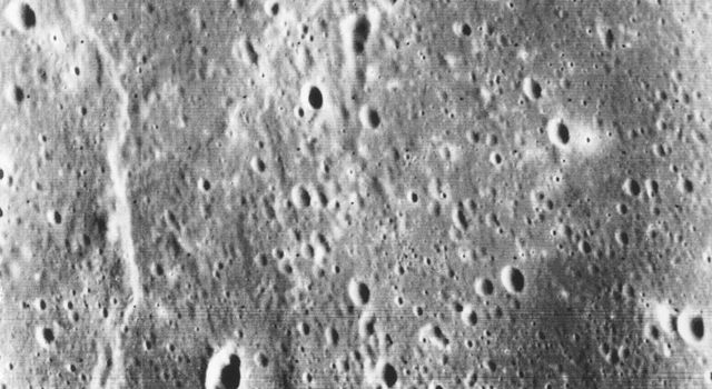 This picture, taken only minutes after NASA's Mariner 10 made its closest approach to Mercury, is one of the highest resolution pictures obtained. Abundant craters in various stages of degradation dot the surface.