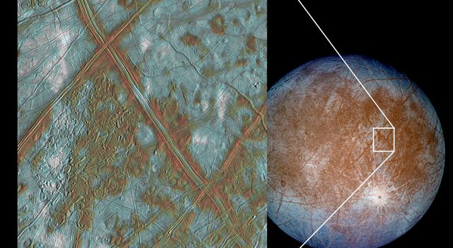 The image on the left shows a region of Europa's crust made up of blocks which are thought to have broken apart and 'rafted' into new positions. These images were obtained by NASA's Galileo spacecraft.