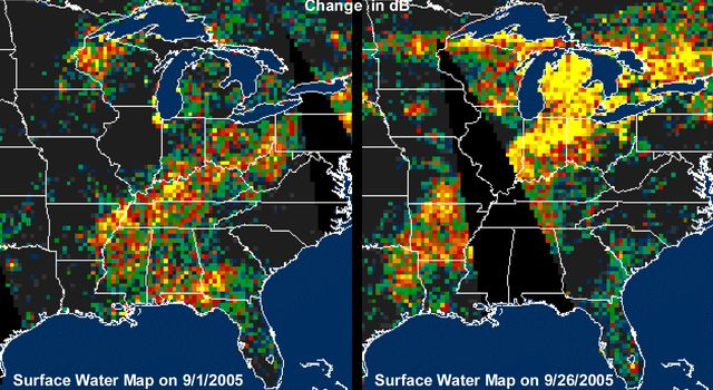 Distribution Patterns of LandSurface Water from Hurricanes Katrina and Rita