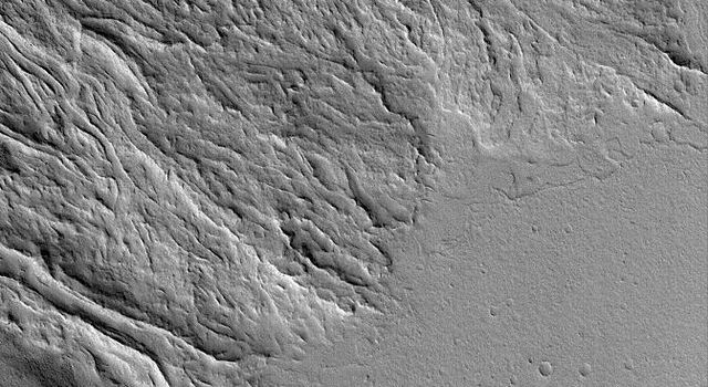 NASA's Mars Global Surveyor shows lava flows at the southeast base of the giant volcano, Olympus Mons on Mars. The flat plain in the south-southeast portion of the image is younger than and cuts off the ends of many of the lava flows.