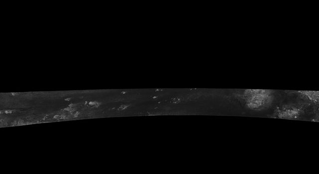 This image was obtained by NASA's Cassini radar instrument during a flyby on Oct. 28, 2005. Equatorial Pass (Trailing hemisphere, Central Adiri, Central Belet, Huygens Landing Site, Antillia Faculae).