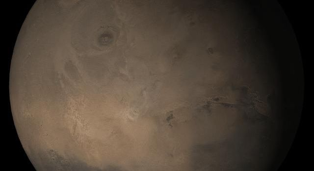 NASA's Mars Global Surveyor shows the Tharsis face of Mars in mid-November 2005.