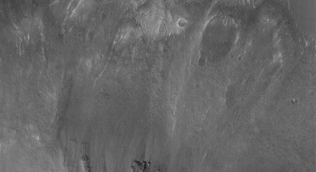 NASA's Mars Global Surveyor shows  a small landslide off a steep slope in southwestern Ophir Chasma on Mars.