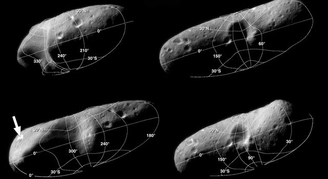These four image mosaics of asteroid Eros, taken by NASA's NEAR Shoemaker, illustrate the reference system the NEAR team uses to locate points on the asteroid's surface. The prime meridian is drawn though a large, bright crater at one end of Eros.